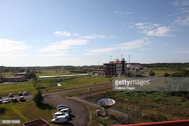 A general view of the rocket port on October 5 2016 in Kourou French Guiana The massive and high tech launch complex is used to launch Ariane5...
