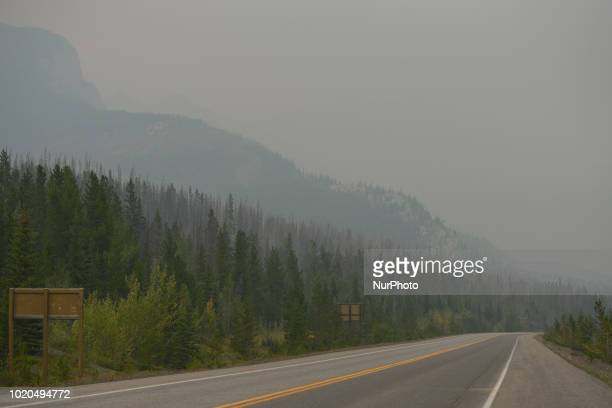 A general view of the Rocky Mountains from Highway 11 near Saskatchewan River Crossing during smoky and hazy weather conditions that blanketed the...