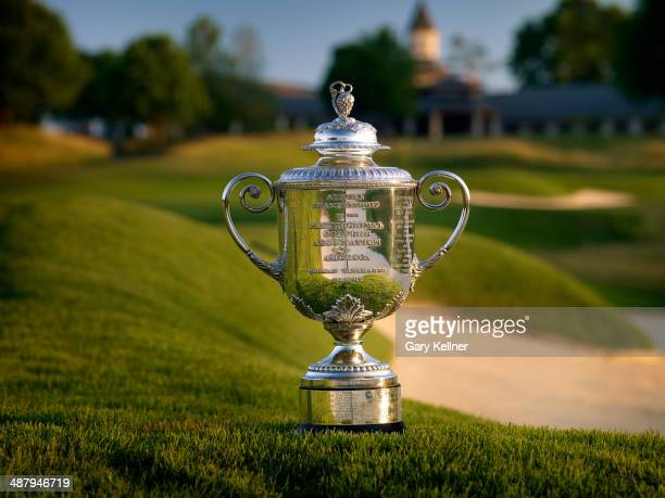 General view of the Rodman Wanamaker Trophy and the 9th hole at the Valhalla Golf Club Course on October 31, 2013 in Louisville, Kentucky.