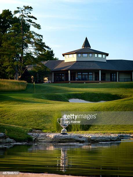 General view of the Rodman Wanamaker Trophy Clubhouse and the 18th hole at the Valhalla Golf Club Course on October 31 2013 in Louisville Kentucky