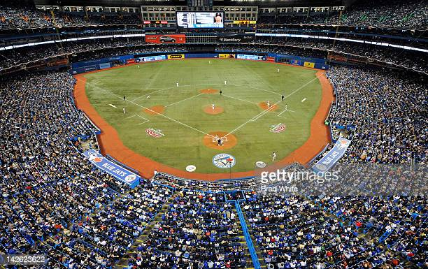 General view of the Rogers Centre during MLB game action between the Toronto Blue Jays and the Boston Red Sox during the Home Opener April 9 2012 at...