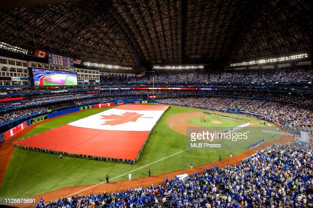 A general view of the Rogers Centre during the Opening Day game between the Boston Red Sox and the Toronto Blue Jays on April 8 2016 in Toronto Canada