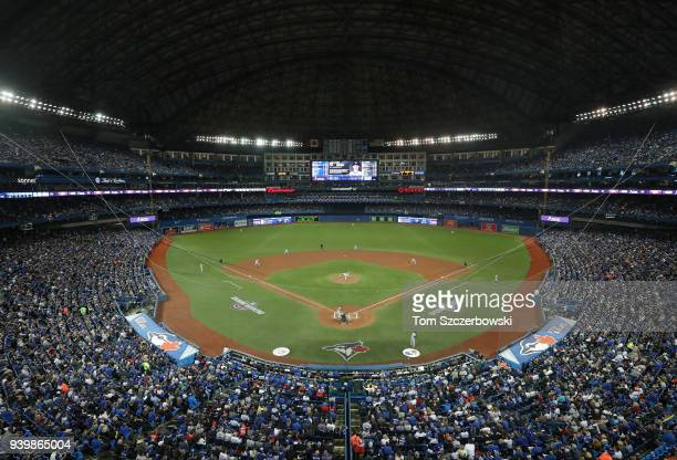 A general view of the Rogers Centre during the Toronto Blue Jays MLB game against the New York Yankees on Opening Day at Rogers Centre on March 29...
