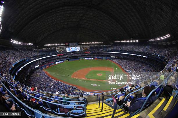 A general view of the Rogers Centre from the upper deck in the fourth inning during the Toronto Blue Jays MLB game on Opening Day against the Detroit...