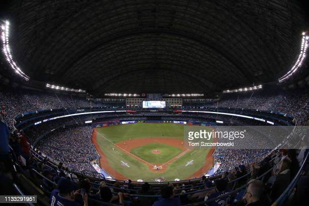 A general view of the Rogers Centre in the fourth inning during the Toronto Blue Jays MLB game on Opening Day against the Detroit Tigers at Rogers...