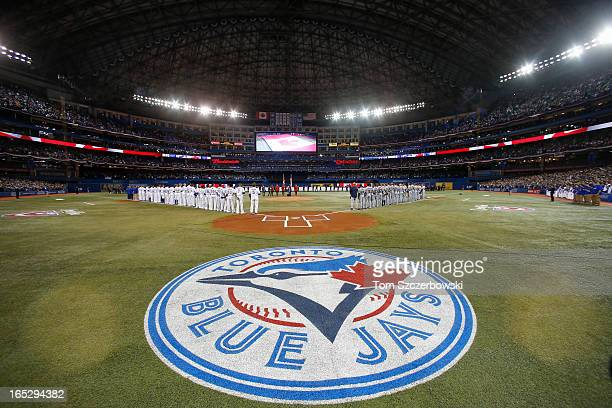 A general view of the Rogers Centre on Opening Day during the singing of the Canadian anthem before the Cleveland Indians MLB game against the...