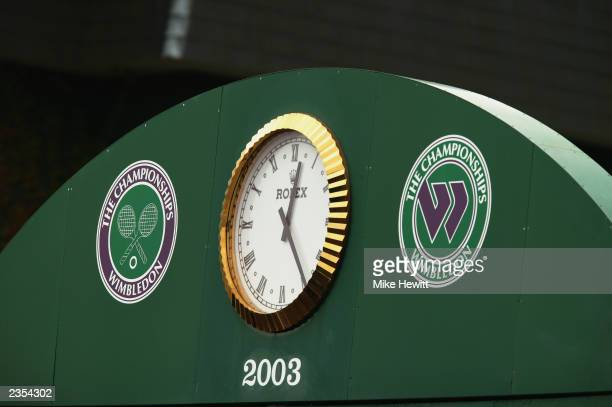 General view of the Rolex clock and Championships logos taken during the final day of the Wimbledon Lawn Tennis Championships held on July 6 2003 at...