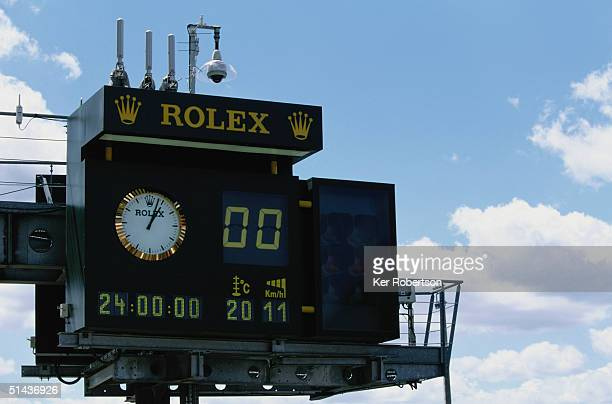 General view of the Rolex timing clock during the Le Mans 24 Hour race at the Circuit des 24 Hours du Mans on June 12 2004 in Le Mans France