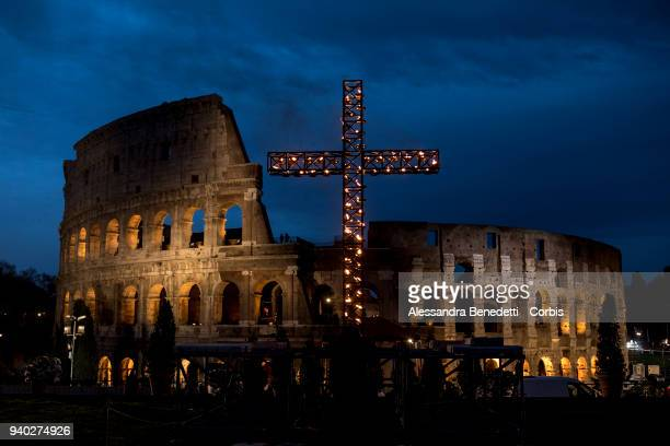 A general view of the roman Colosseum during the stations of the cross lead by Pope Francis on March 30 2018 in Rome Italy