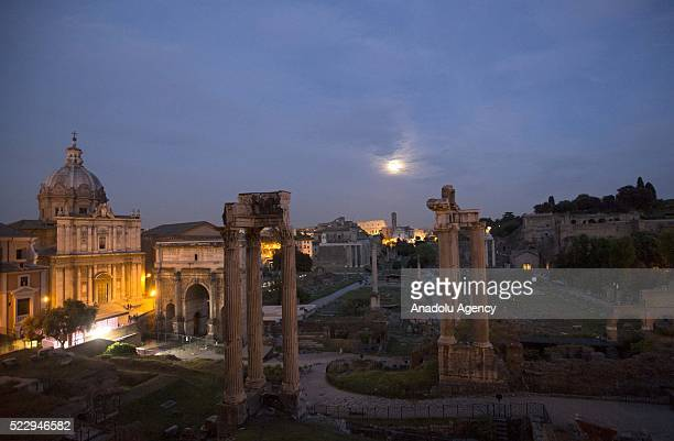 A general view of the Roman forum is seen before the inauguration of the new lighting system on the occasion of Rome's 2769th foundation anniversary...
