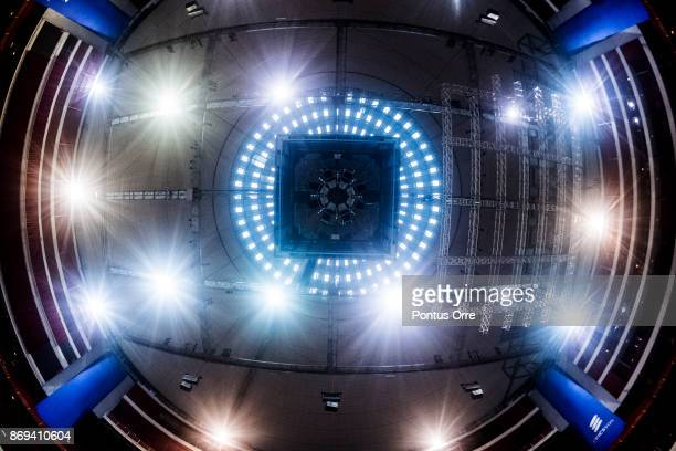 General view of the roof in Ericsson Globe during the rink build out ahead of the SAP NHL Global Series between Ottawa Senators and Colorado...