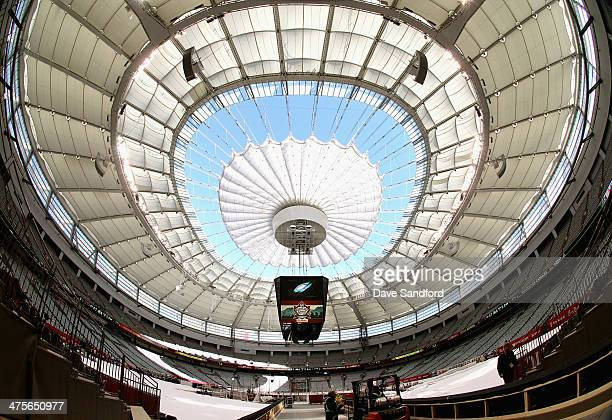 A general view of the roof of BC Place during the 2014 Tim Horton NHL Heritage Classic build out before the game between the Vancouver Canucks and...