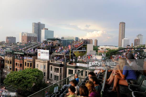 A general view of the rooftops as people wait out a rain delay of a game between the Chicago Cubs and the Washington Nationals during the second game...