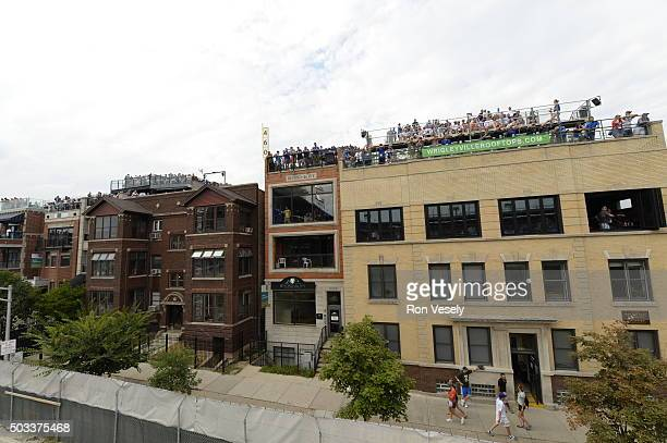 A general view of the rooftops surrounding Wrigley Field during the game between the Chicago Cubs and San Francisco Giants at Wrigley Field on...
