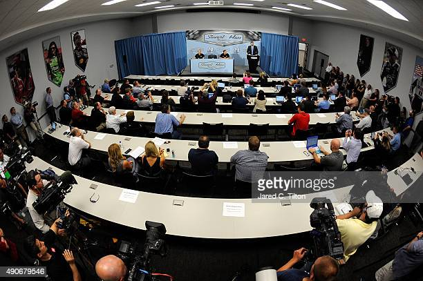 A general view of the room during a press conference announcing the retirement of Tony Stewart on September 30 2015 in Kannapolis North Carolina...