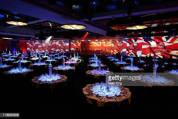 A general view of the room setup during the Australian Olympic Committee Black Tie Dinner at the Sydney Convention Exhibition Centre on July 27 2011...