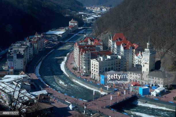 A general view of the Rosa Khutor Alpine Village ahead of the Sochi 2014 Winter Olympics on February 5 2014 in Sochi Russia