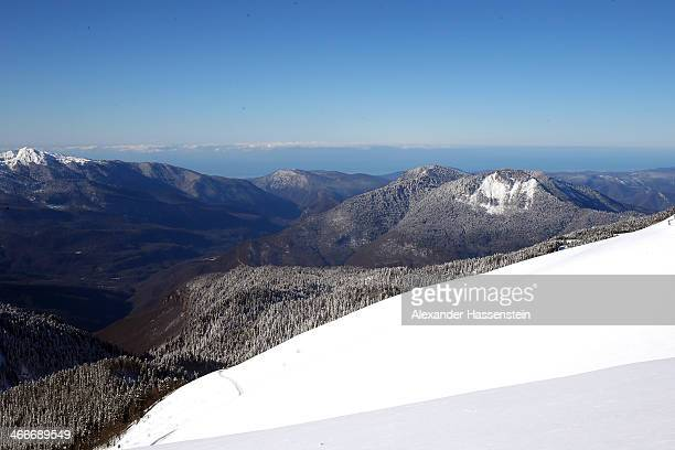 General view of the Rosa Khutor Mountain Cluster showing the City of Sochi and the Black Sea ahead of the Sochi 2014 Winter Olympics on February 3,...