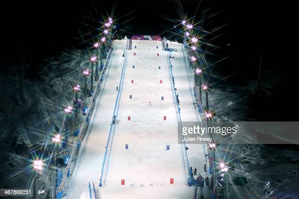 General view of the Rosa Mogul course during the Ladies' Moguls Final 1 on day one of the Sochi 2014 Winter Olympics at Rosa Khutor Extreme Park on...