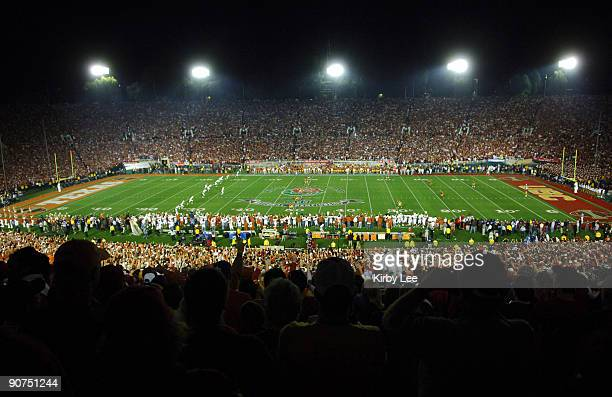 General view of the Rose Bowl during the opening kickoff between Texas and USC in the BCS National Championship game in Pasadena, Calif. On...