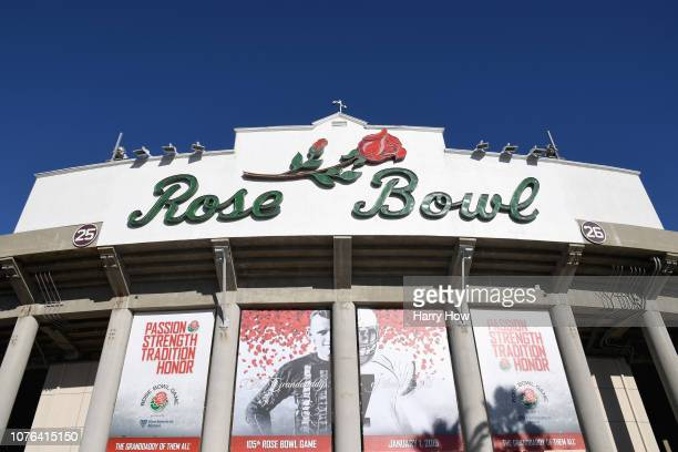 A general view of the Rose Bowl Stadium ahead of the Rose Bowl Game presented by Northwestern Mutual at the Rose Bowl on January 1 2019 in Pasadena...