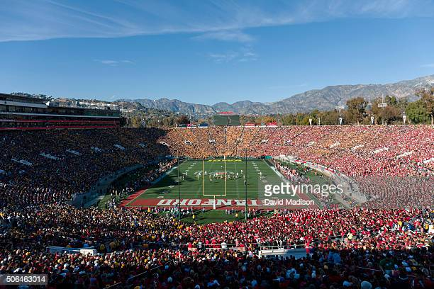 A general view of the Rose Bowl stadium during the 102nd Rose Bowl game between the Iowa Hawkeyes and the Stanford Cardinal played on January 1 2016...