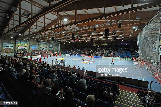 A general view of the RothenbachHalle during the Toyota Handball Bundesliga match between MT Melsungen and HBW BalingenWeilstetten at the...