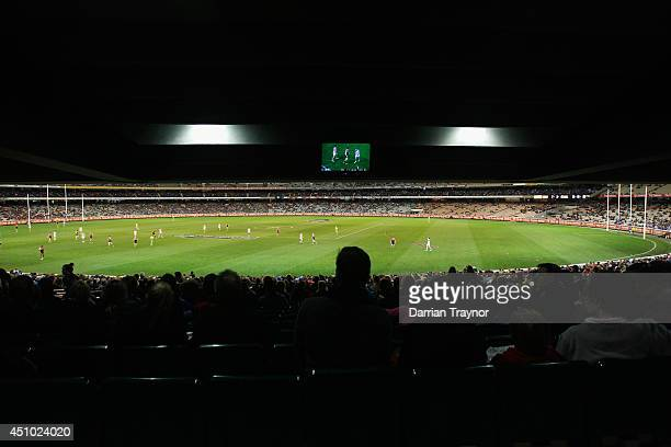 A general view of the round 14 AFL match between the Melbourne Demons and the North Melbourne Kangaroos at Melbourne Cricket Ground on June 22 2014...
