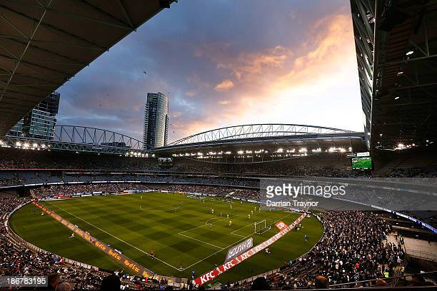 A general view of the round four ALeague match between Melbourne Victory and Wellington Phoneix at Etihad Stadium on November 4 2013 in Melbourne...