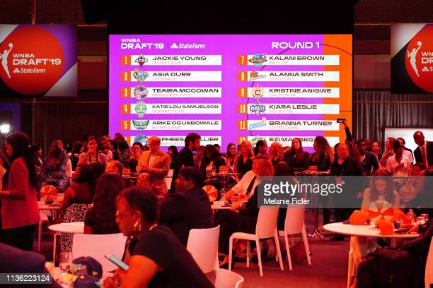 A general view of the Round One Draft Board during the 2019 WNBA Draft on April 10 2019 at the Nike Headquarters in New York New York NOTE TO USER...