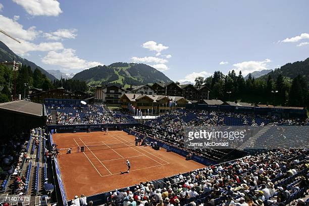 General view of the Roy Emerson Arena during the first round of the Allianz Suisse Open at the Roy Emerson Arena on July 10, 2006 in Gstaad,...