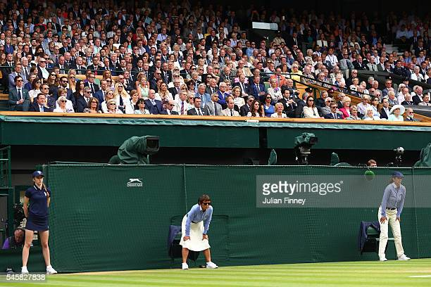 General view of the Royal Box prior to the Men's Singles Final match between Andy Murray of Great Britain and Milos Raonic of Canada on day thirteen...