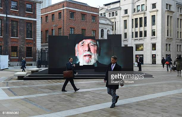 General view of the Royal British Legion video installation in central London prior to a gathering of veterans for the Poppy Appeal Launch on October...