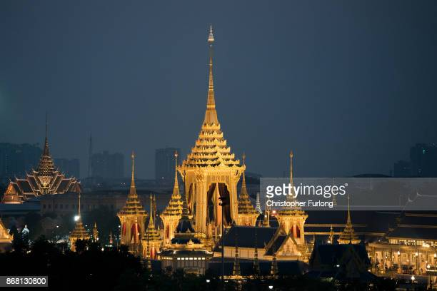 A general view of the Royal Crematorium at Sanam Luang ceremonial ground where the late Thai King Bhumibol Adulyadej was cremated on October 30 2017...