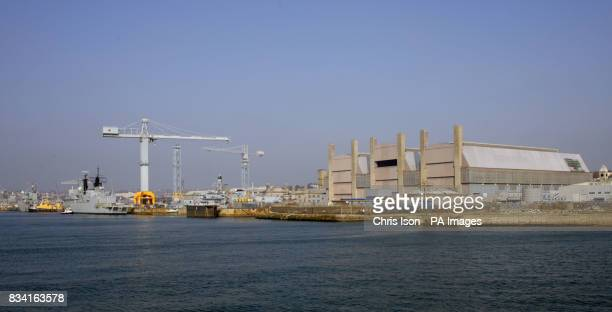 General view of the Royal Navy dockyard at Devonport in Plymouth Devon as seen from the Torpoint ferry Picture date Monday February 18 2008 Picture...