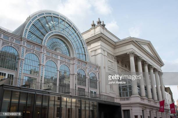 General view of the Royal Opera House in Covent Garden on February 15, 2021 in London, England.