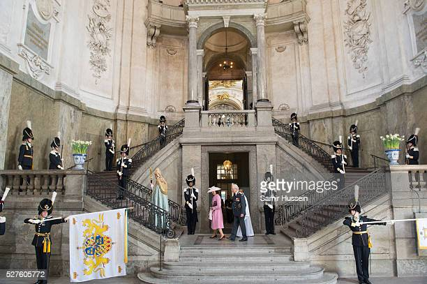 A general view of the Royal Palace as King Carl Gustaf of Sweden and Queen Silvia arrive ahead of the Te Deum Thanksgiving Service to celebrate the...
