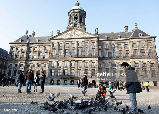 General view of the Royal Palace, the venue of the April 30, 2013 abdication of Queen Beatrix of The Netherlands, on February 12, 2013 in Amsterdam,...