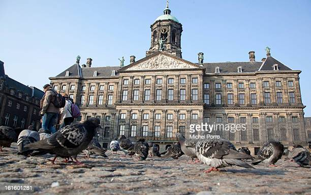 General view of the Royal Palace the venue of the April 30 2013 abdication of Queen Beatrix of The Netherlands on February 12 2013 in Amsterdam...