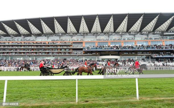 A general view of the Royal Procession from the new enclosure at Royal Ascot the Village Enclosure on day 3 of Royal Ascot at Ascot Racecourse on...