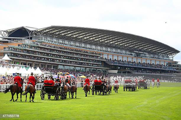 General view of the Royal Procession on Day 2 of Royal Ascot 2015 at Ascot racecourse on June 17, 2015 in Ascot, England.