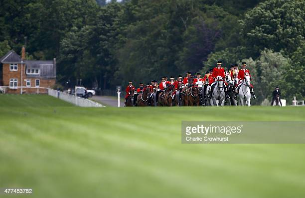 A general view of the Royal Procession on Day 2 of Royal Ascot 2015 at Ascot racecourse on June 17 2015 in Ascot England