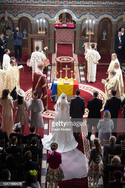 General view of the Royal wedding of Prince Nicholas of Romania and Princess Alina of Romania at Sfantul IIie church celebrated by his Eminence...