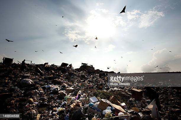 General view of the rubbish at Jardim Gramacho the biggest open air garbage dump in Latin American on its closing day on May 31 2012 in Rio de...