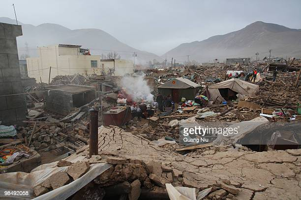 A general view of the rubble following a strong earthquake on Jiegu township of China's Qinghai province just on April 16 2010 in Golmud China...