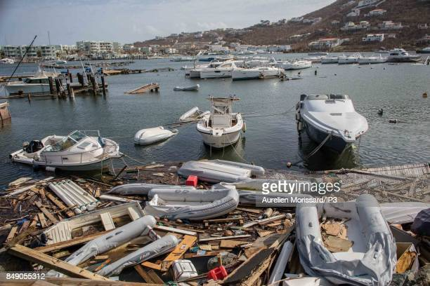 A general view of the rubbles at the Marina in the Oyster Pond neighborhood ten days after the passage of hurricane Irma on September 15 2017 in...