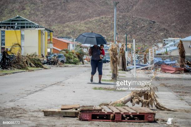 A general view of the rubbles in the Orleans neighborhood nine days after the passage of hurricane Irma on September 14 2017 in Saint Martin French...