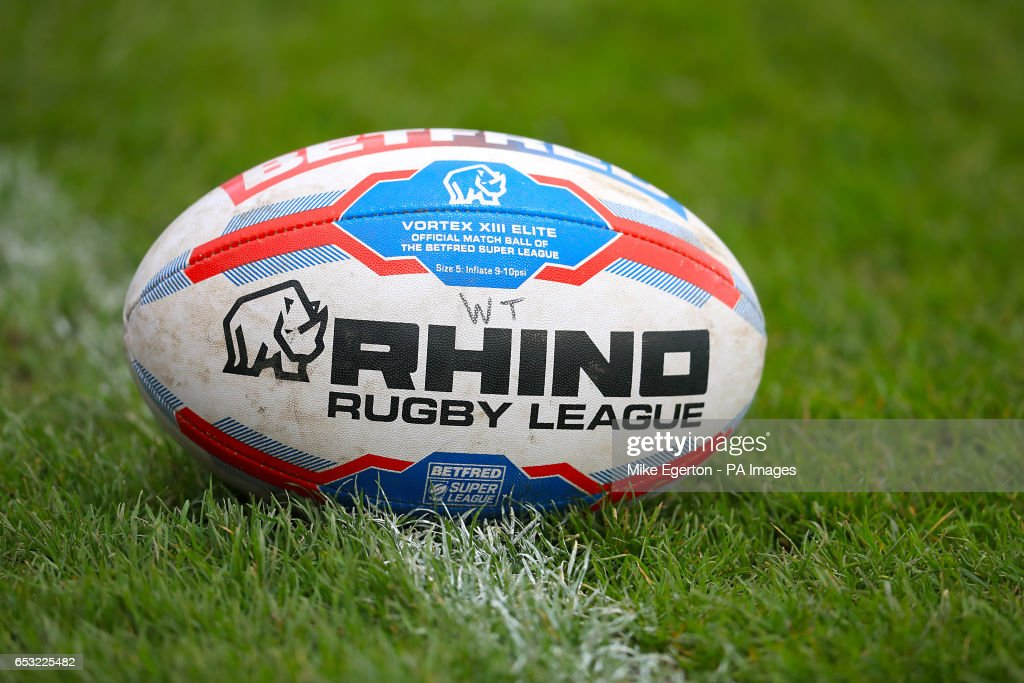 A general view of the rugby ball on the pitch