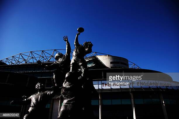 General view of the rugby statue outside Twickenham Stadium on March 7, 2015 in London, England.