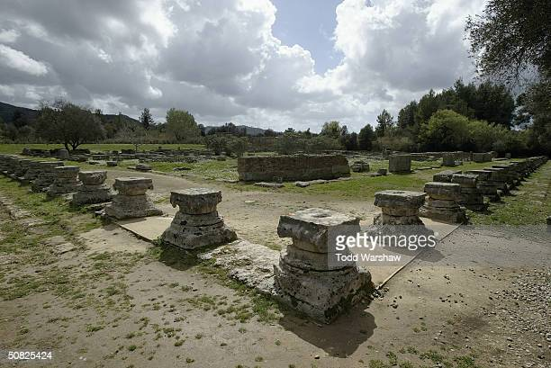 A general view of the ruins of Ancient Olympia during the Olympic flame ceremony rehearsal on March 24 2004 in Olympia Greece